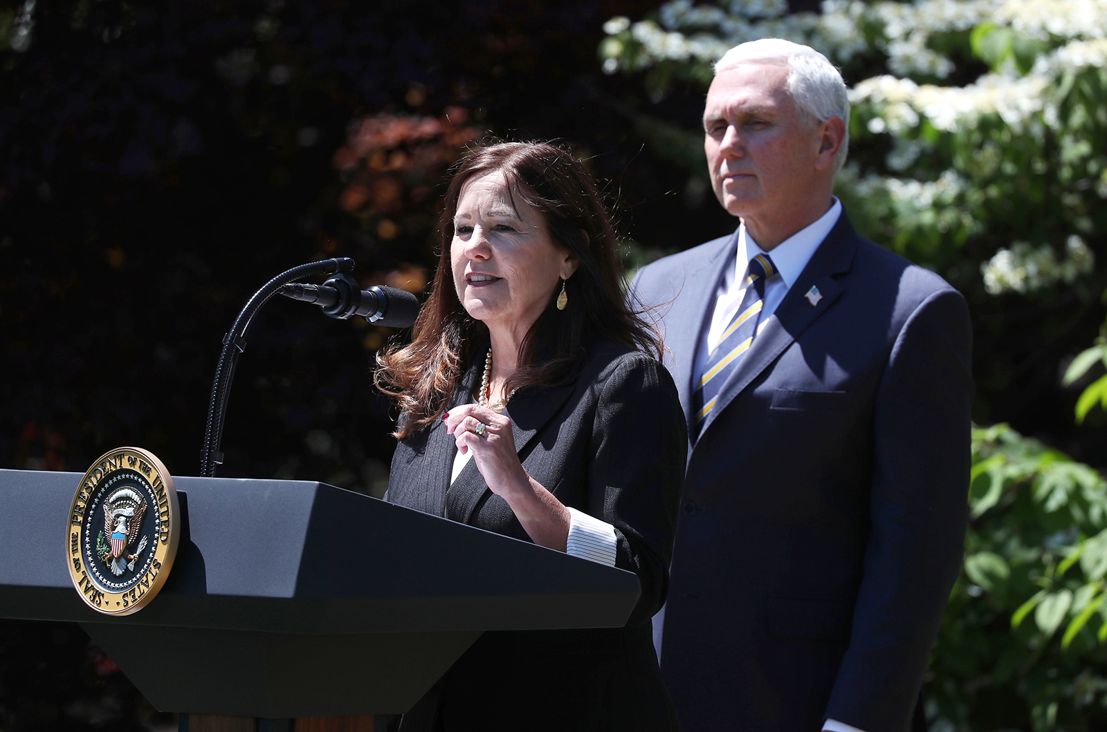 Second Lady Karen Pence speaks during an Earth Day and Arbor Day tree planting ceremony on the South Lawn of the White House in Washington, DC, on Wednesday, April 22.