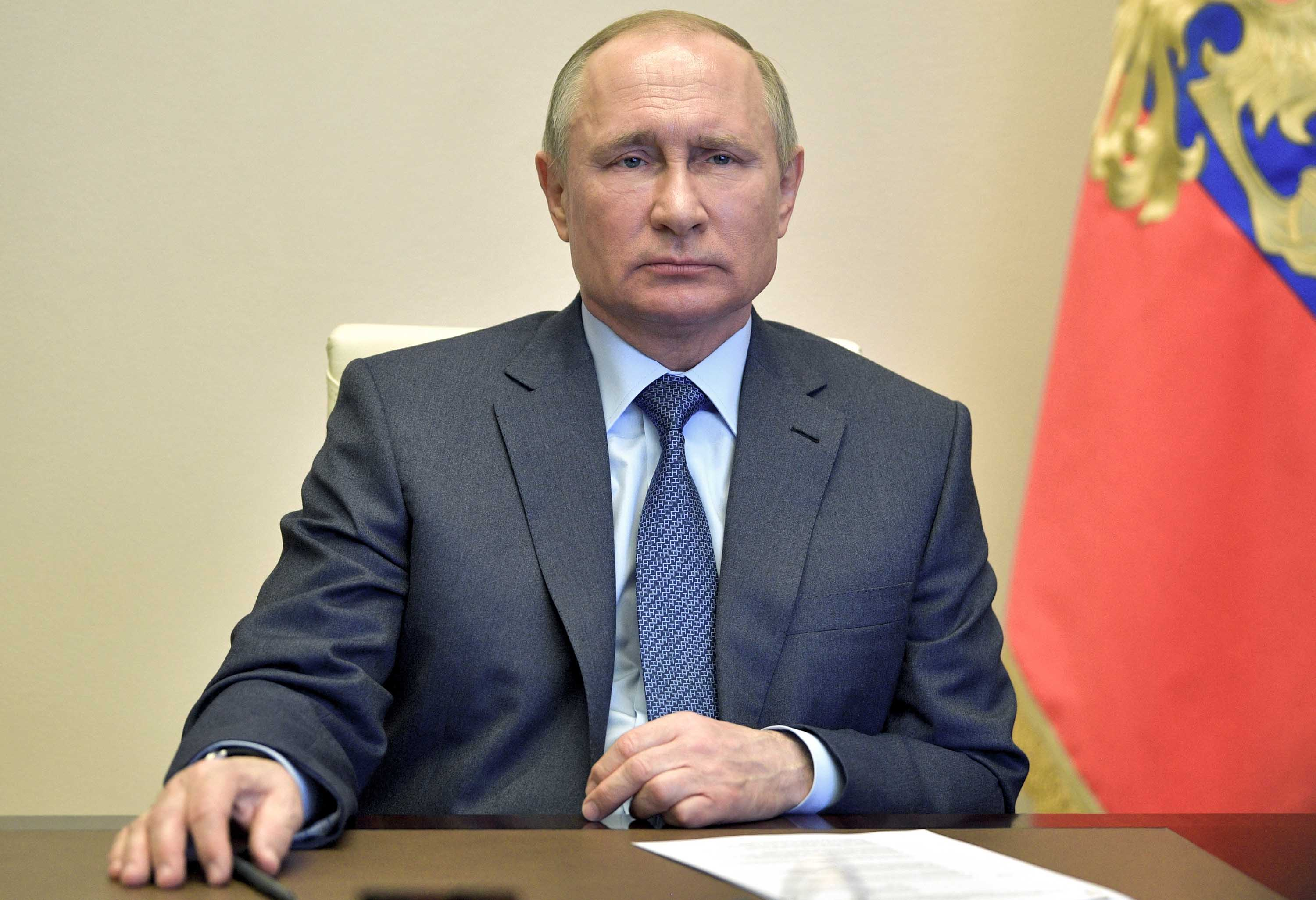 Russian President Vladimir Putin is pictured during a video conference in Moscow, Russia, on April 20.