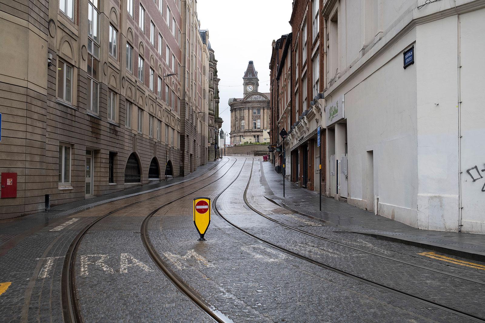 An empty street in Birmingham, England.