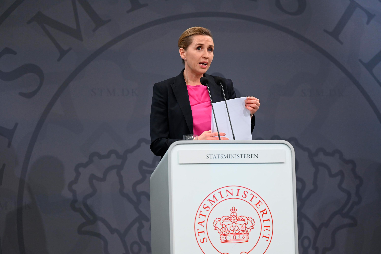 Denmark's Prime Minister Mette Frederiksen addresses a press conference in the Prime Minister's Office in Copenhagen, Denmark, on November 5.