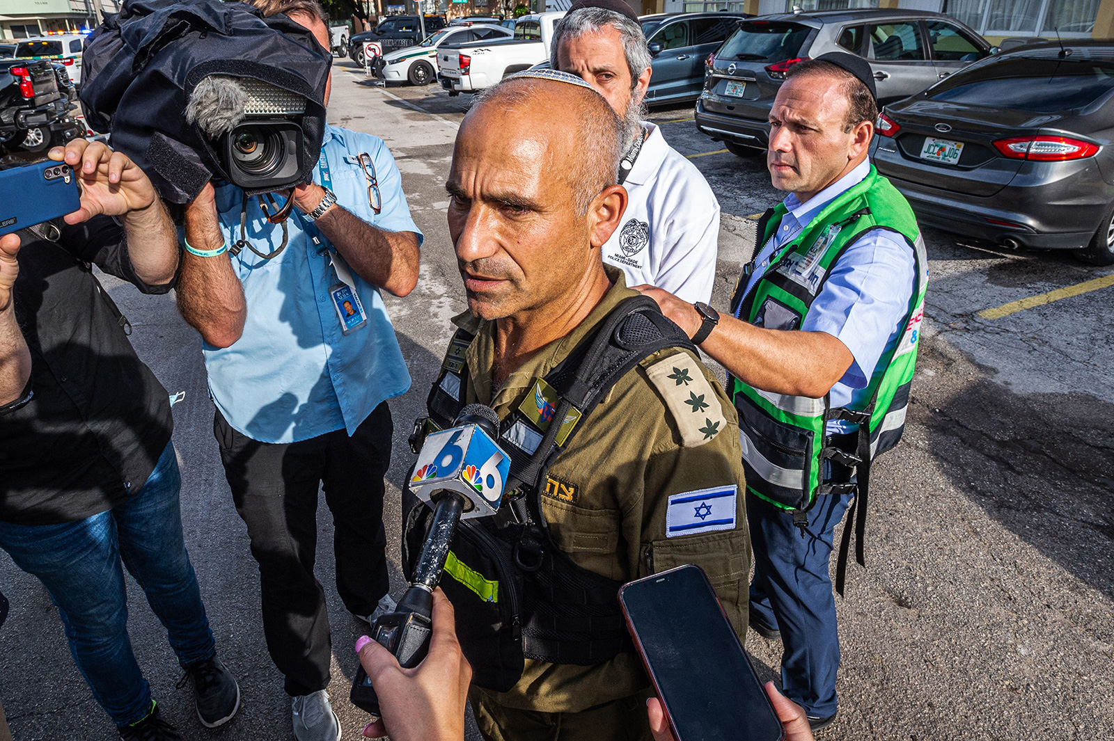 Golan Vach, Commander of the Israel Rescuers delegation arrives in the area near the partially collapsed 12-story Champlain Towers South condo building in the city of Surfside, Florida, on June 27.