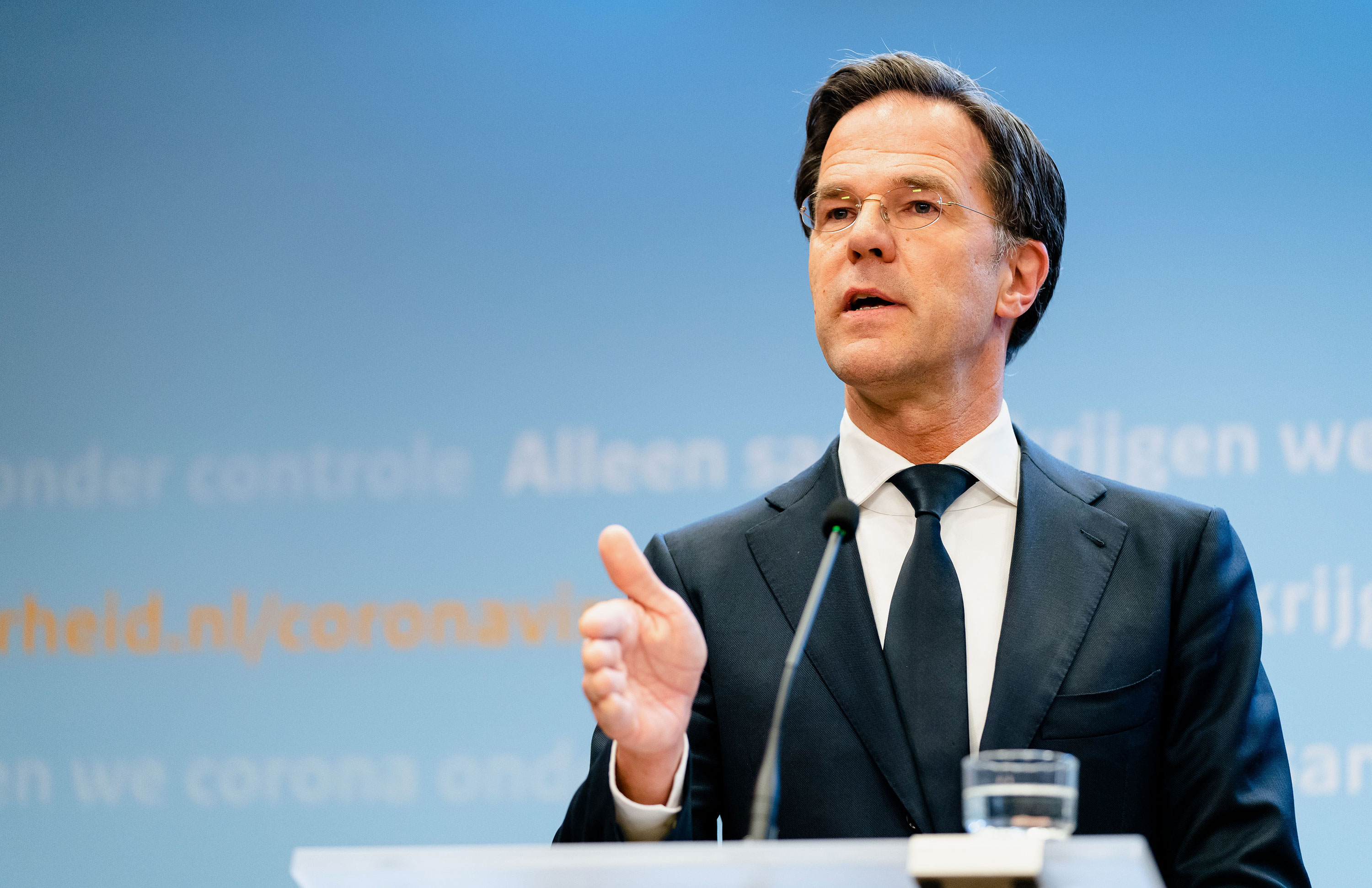 Dutch Prime Minister Mark Rutte speaks during a news conference in The Hague on April 21.