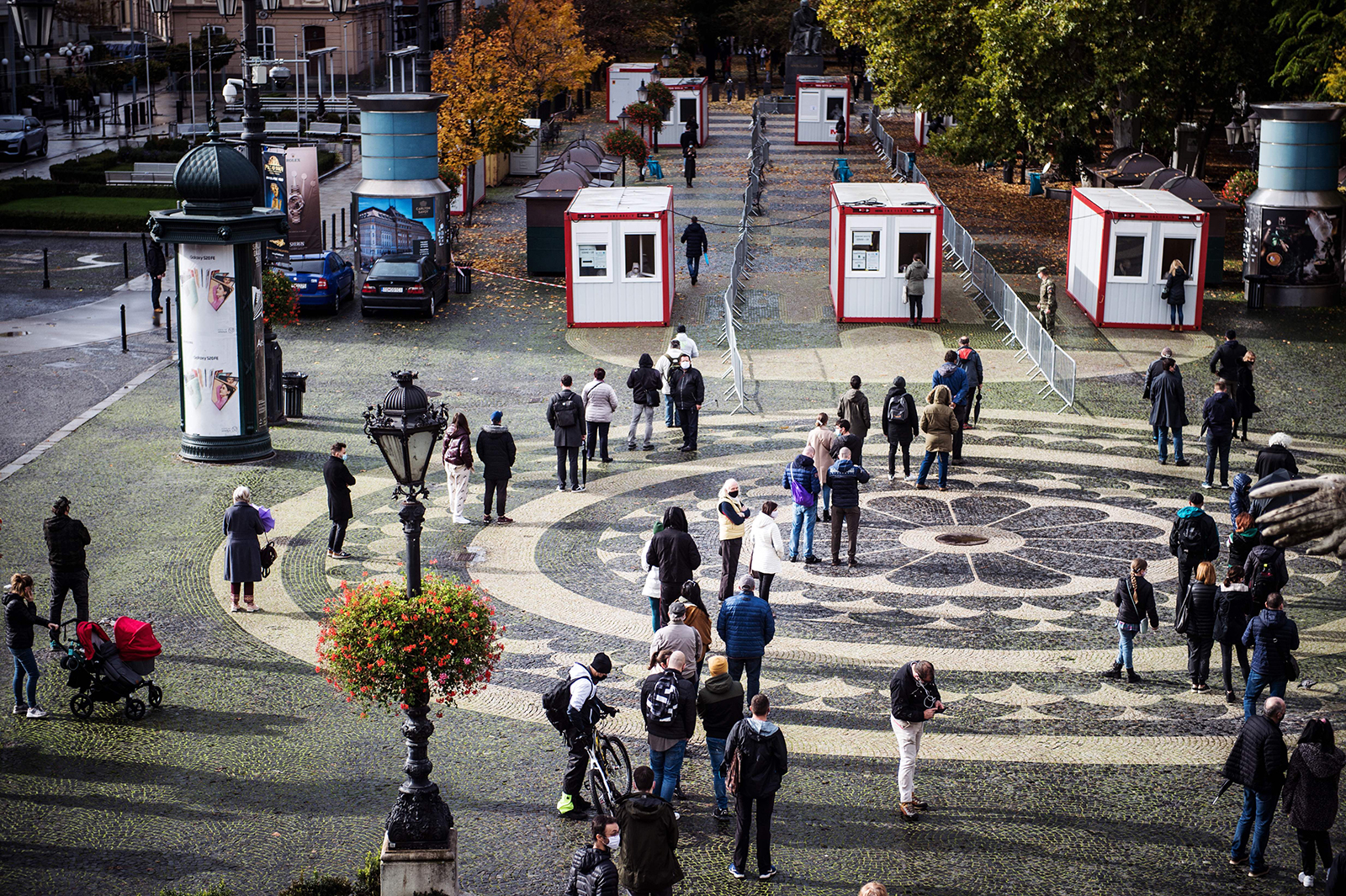 People queue to be tested for Covid-19 during nationwide testing in Bratislava, Slovakia, on October 31.