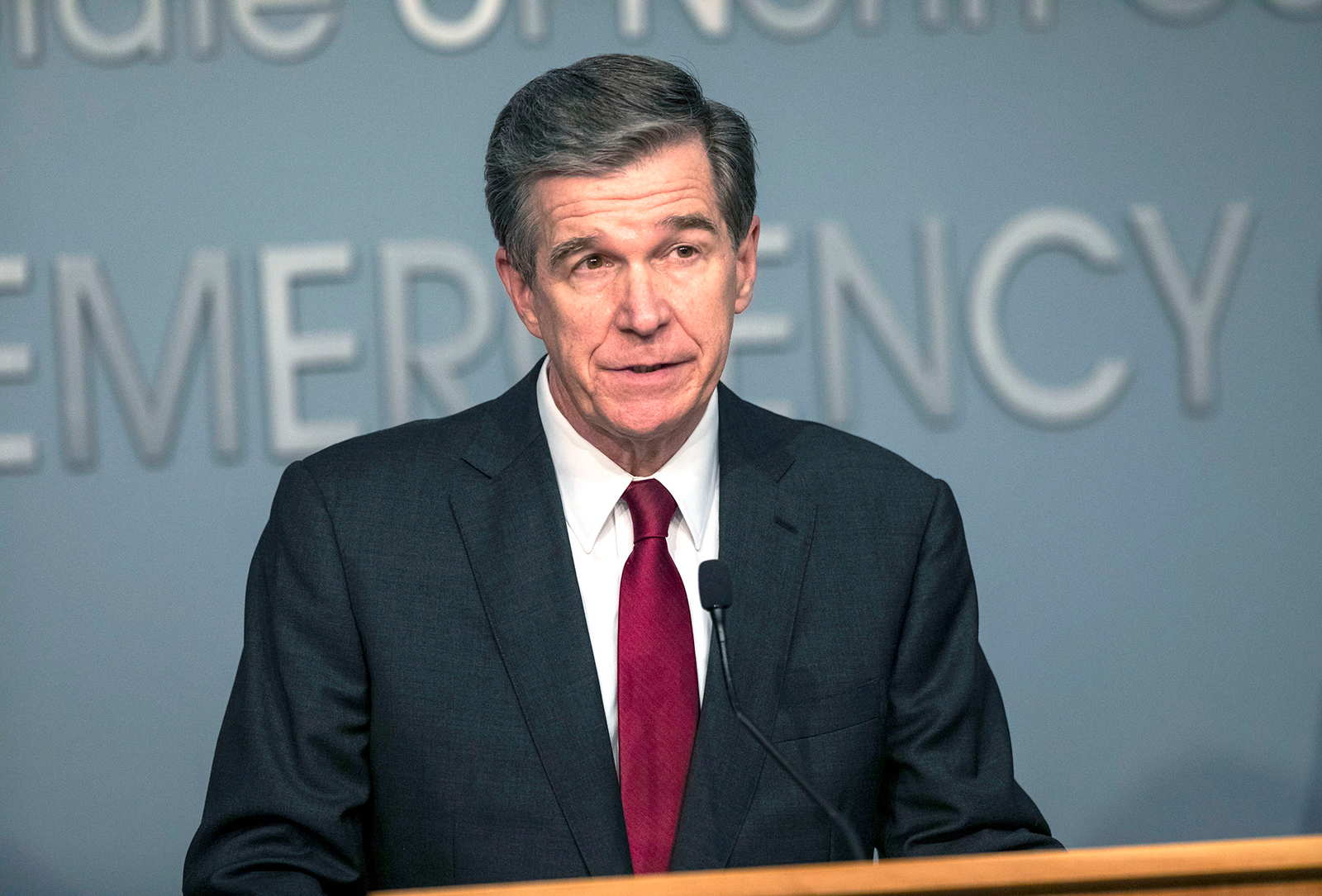 Gov. Roy Cooper delivers a briefing on North Carolina's coronavirus pandemic response at the N.C. Emergency Operations Center in Raleigh, North Carolina on June 15.