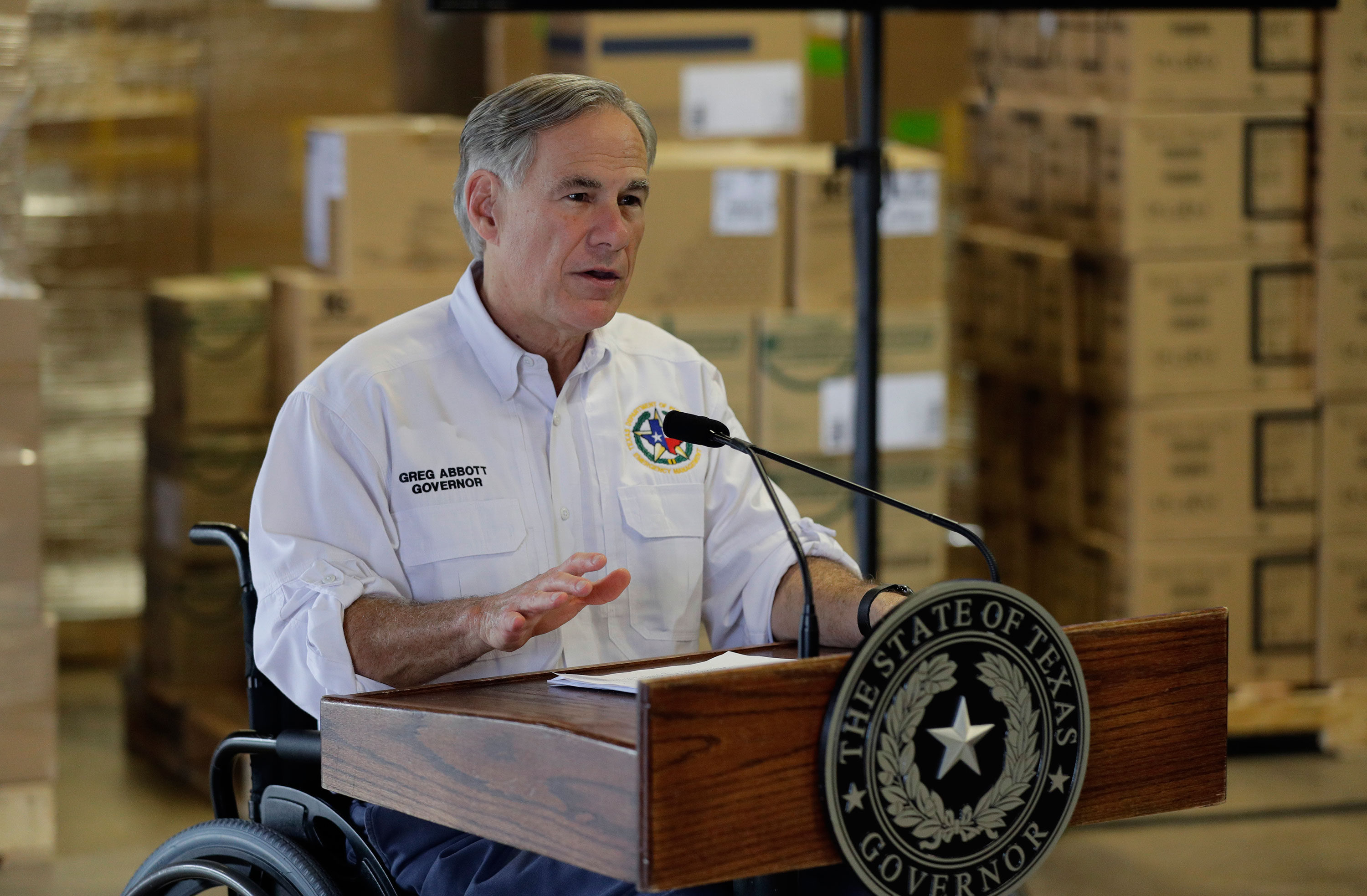 Gov. Greg Abbott gives an update on the coronavirus outbreak at the Texas Department of Public Safety warehouse facility in Austin, Texas on April 6.