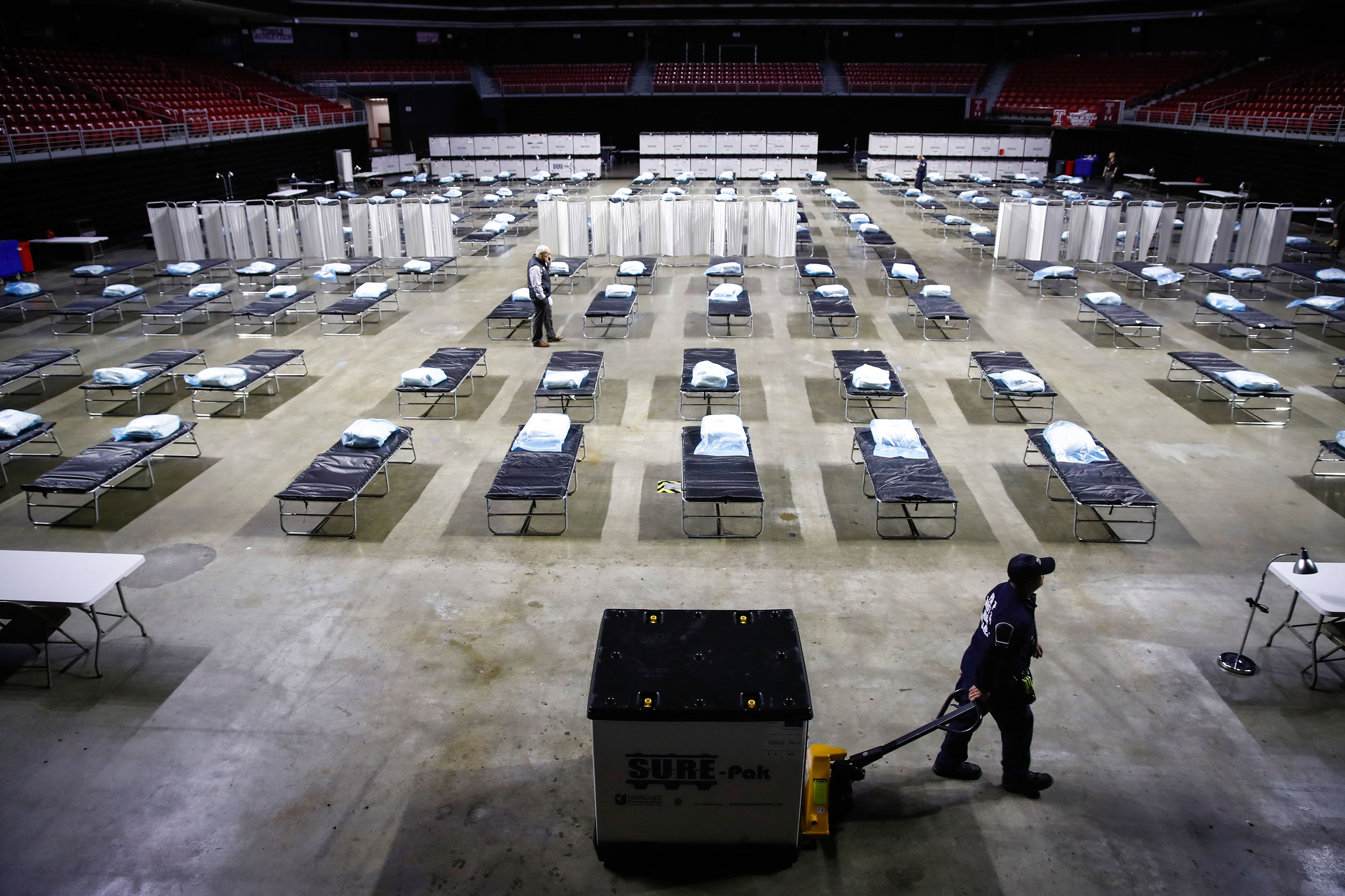 A temporary hospital is set up at Temple University's Liacouras Center in Philadelphia on March 30.