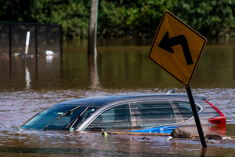 A car flooded on a local street as a result of the remnants of Hurricane Ida is seen in Somerville, New Jersey. Thursday, September 2.