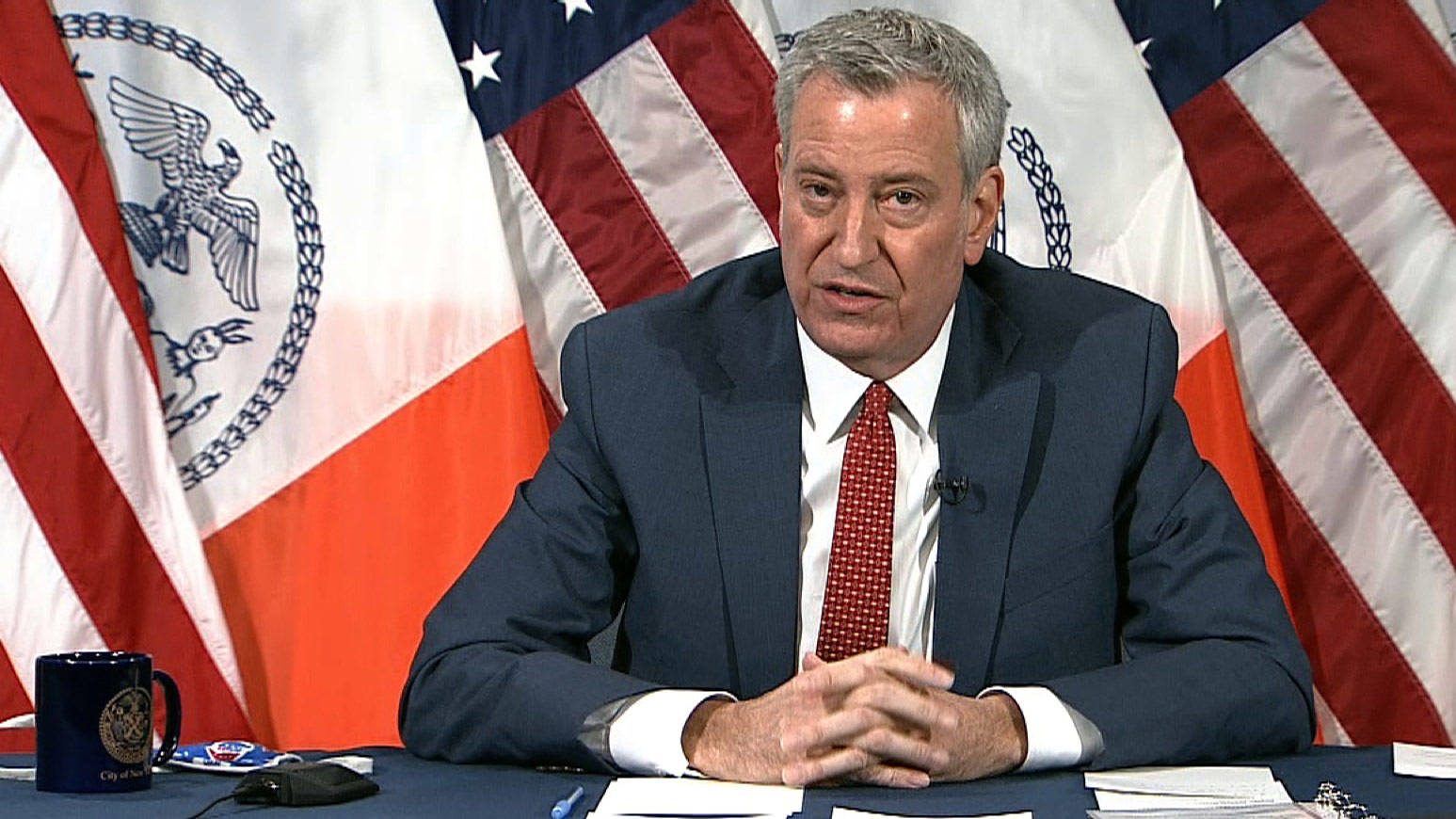 New York City Mayor Bill de Blasio speaks during a press conference on Monday morning.