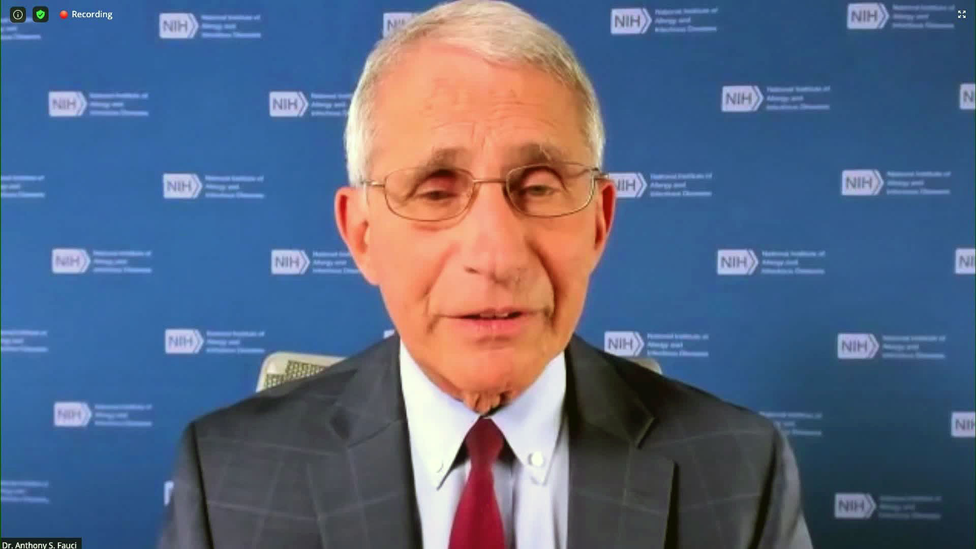 Dr. Anthony Fauci speaks remotely during the Research! America 2020 Summit.