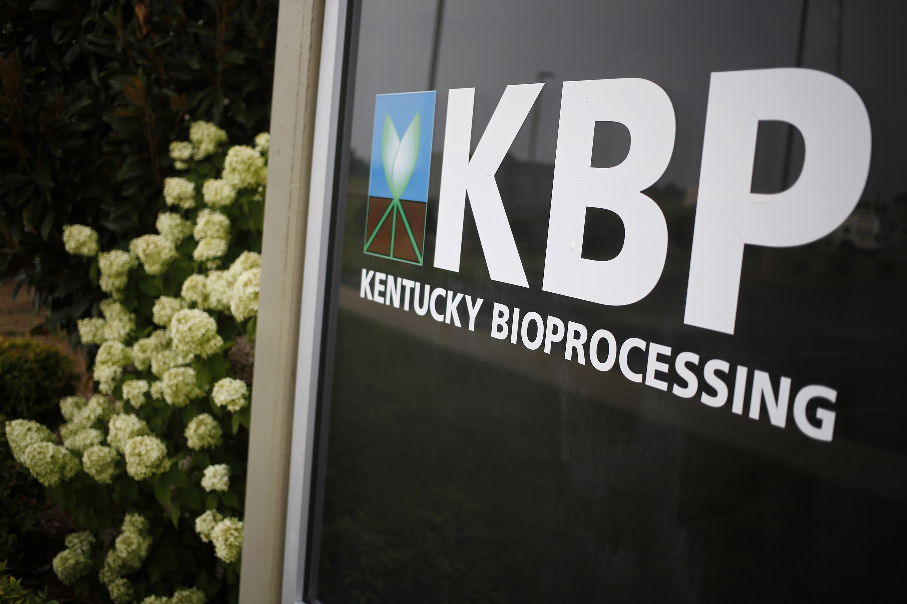 The logo for Kentucky BioProcessing LLC is displayed at the facility in Owensboro, Kentucky, in August 2014.