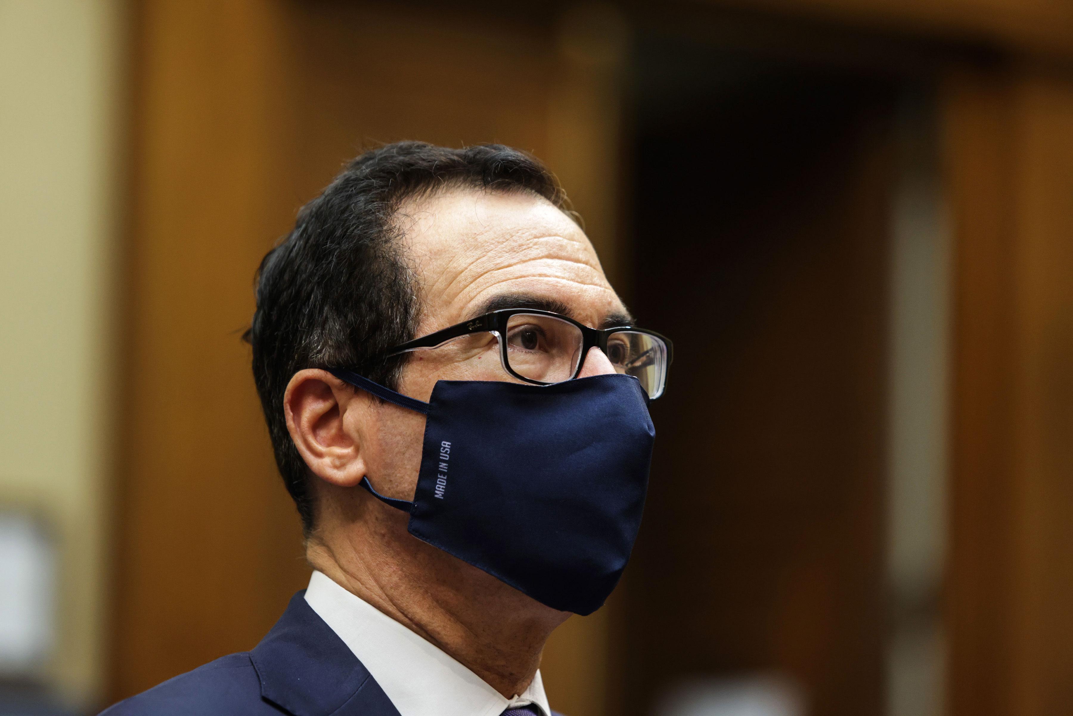 Treasury Secretary Steven Mnuchin attends a hearing in Washington, DC, on September 1.