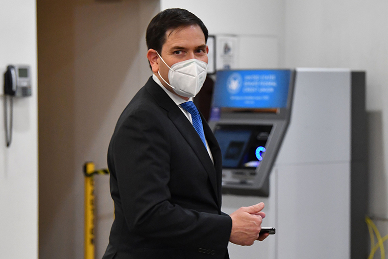 Senator Marco Rubio leaves after the conclusion of the second day of the second impeachment trial of former US President Donald Trump on Capitol Hill February 10, in Washington, DC.
