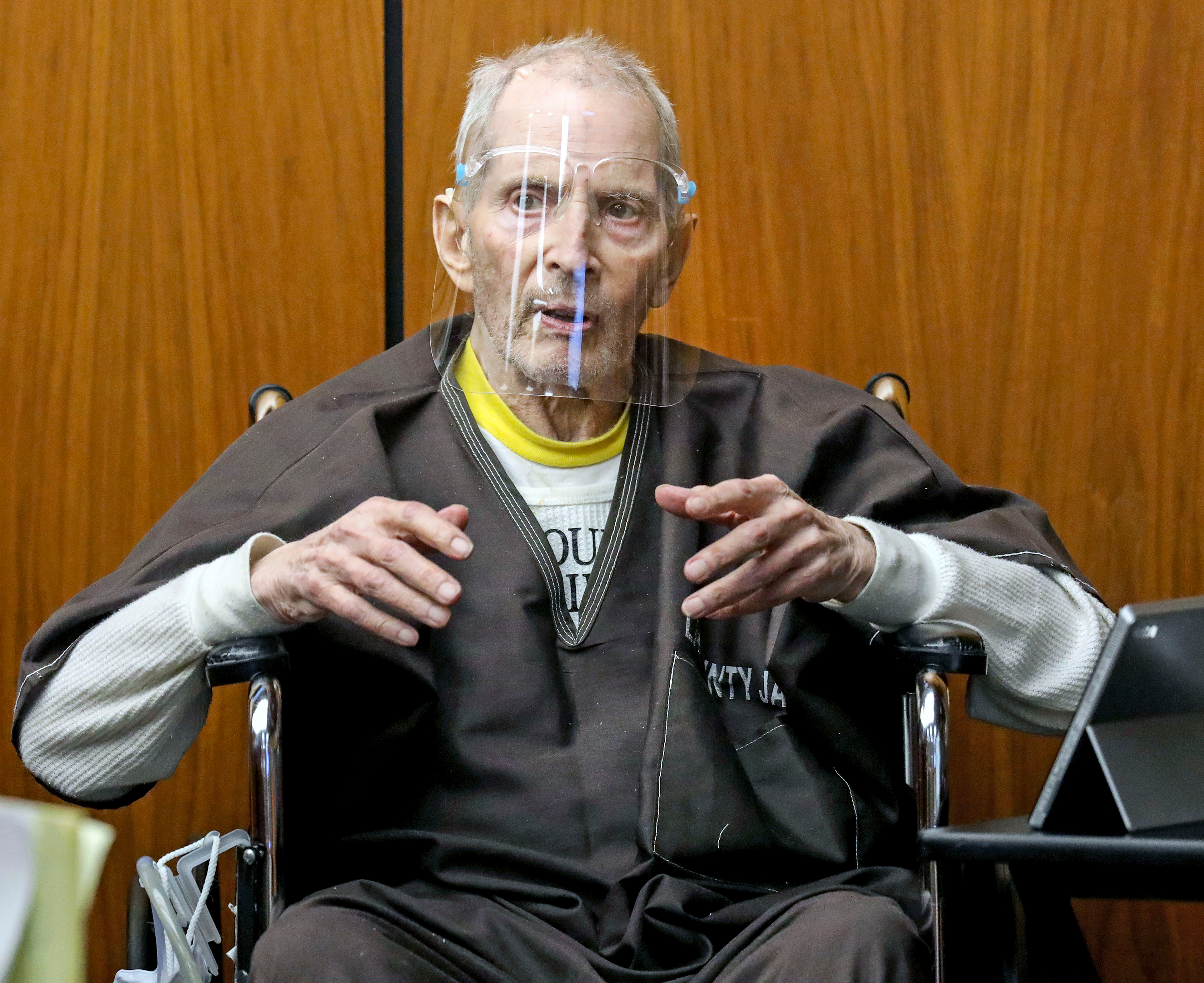 Robert Durst testifies during his murder trial at the Inglewood Courthouse in California, on August 9, 2021.