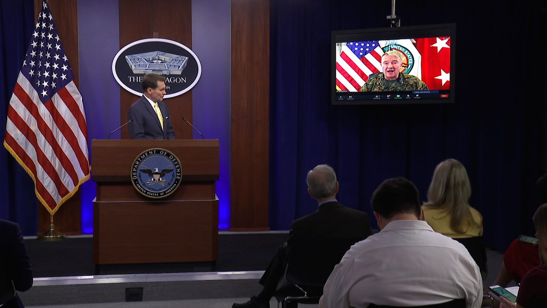 A press briefing is held at the Pentagon in Arlington, Virginia, on August 30.