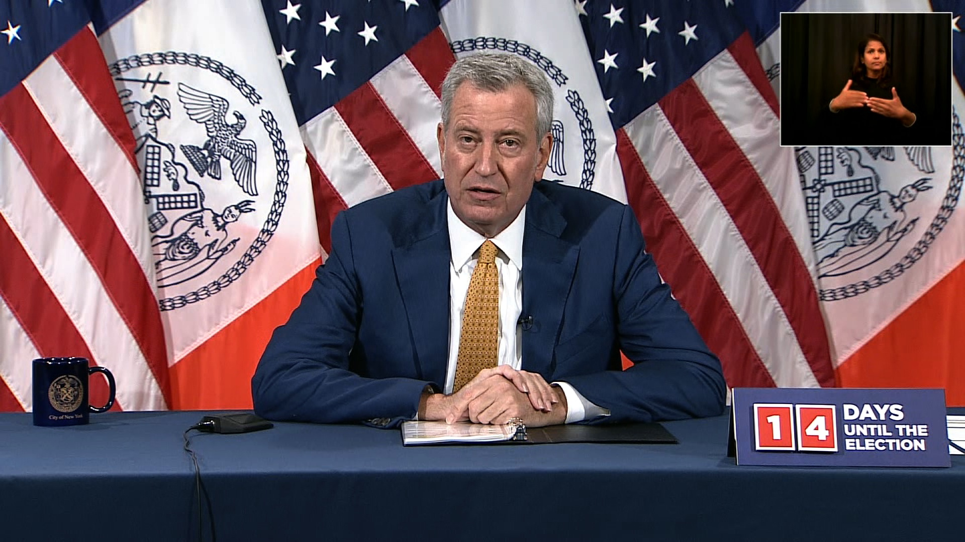 Mayor Bill de Blasio speaks at a press conference in New York on October 20.