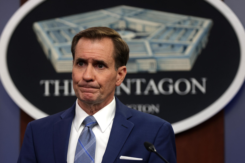 John Kirby speaks during a news briefing at the Pentagon August 16, 2021 in Arlington, Virginia.