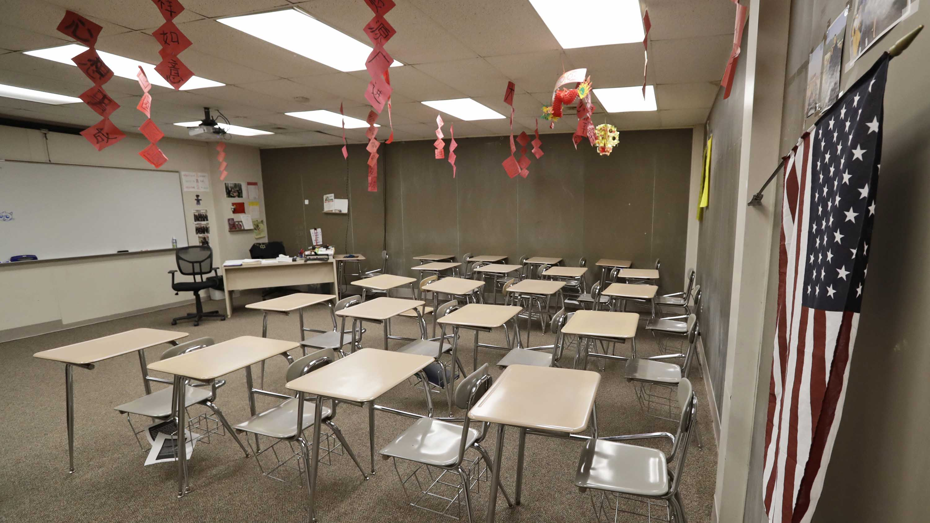 An empty classroom is shown at Orange High School in Pepper Pike, Ohio on Thursday.