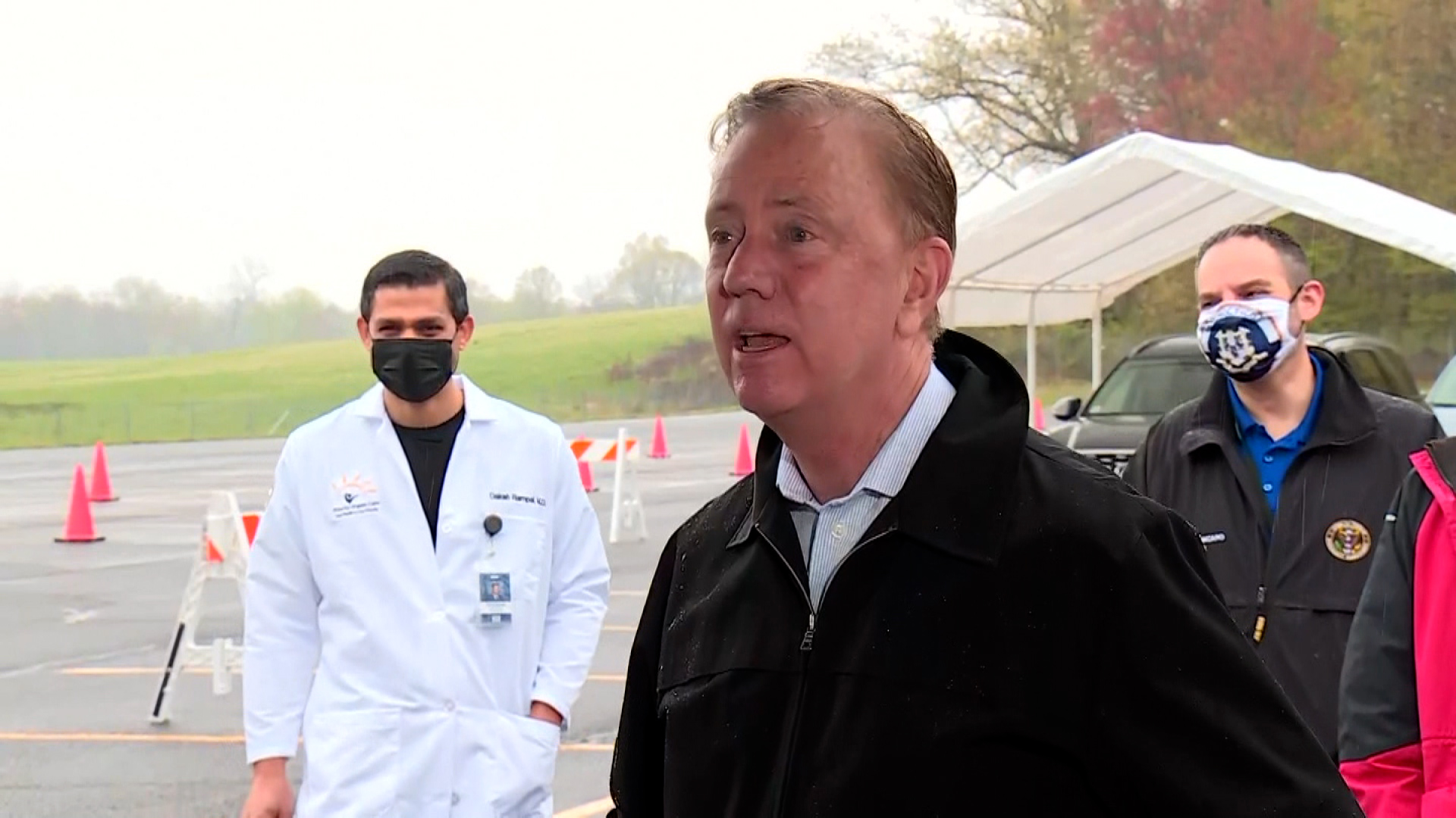 Connecticut Gov. Ned Lamont speaks at a COVID-19 vaccination clinic and food giveaway event in East Windsor, Connecticut, on April 29.