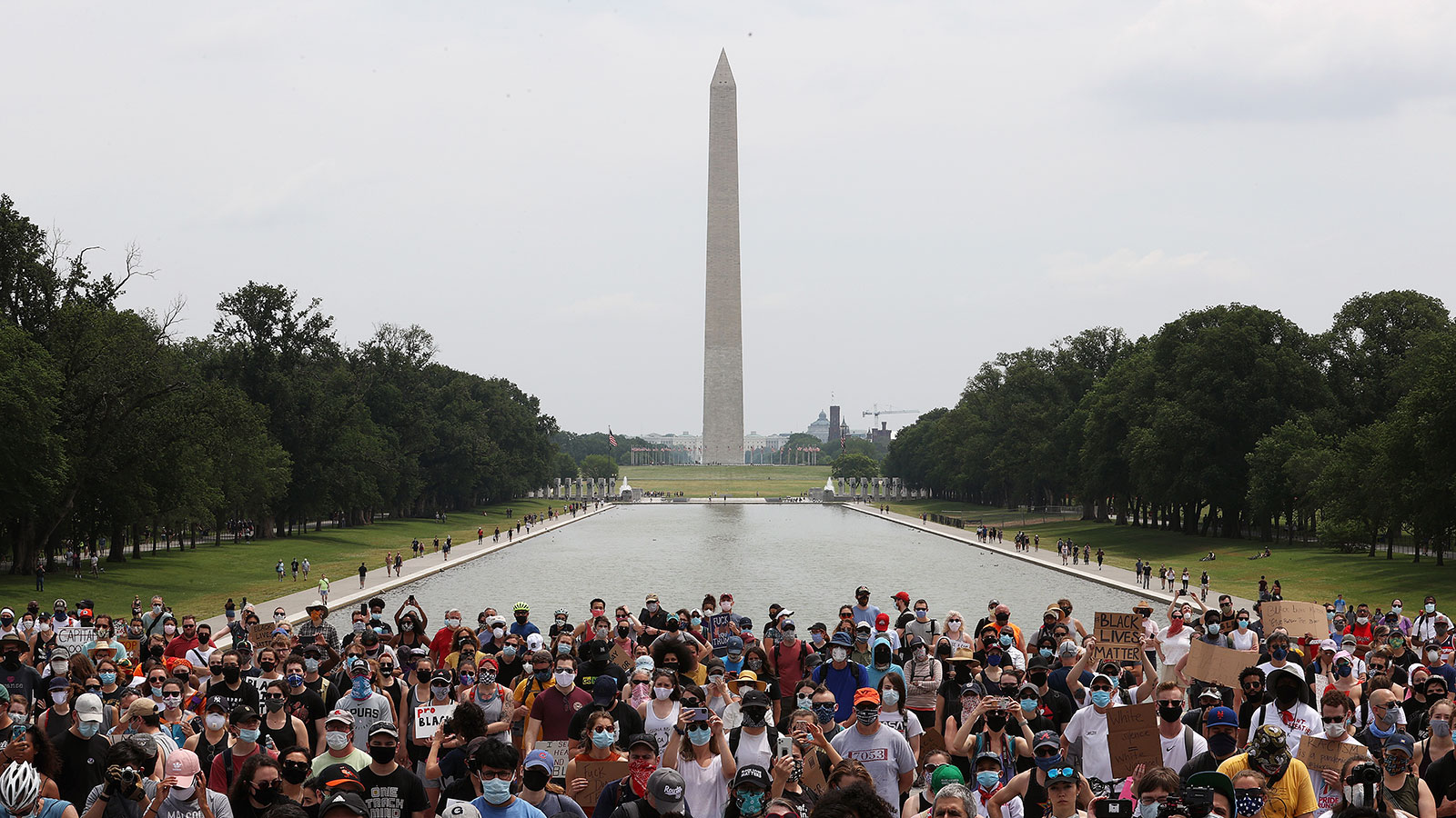 Demonstrators gather in front of the Lincoln Memorial during a protest against police brutality and racism on June 6 in Washington, DC.