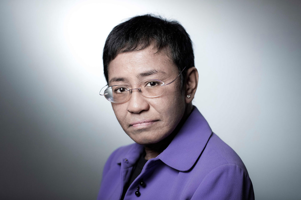 Maria Ressa poses during a photo session on September 11, 2018 in Paris, France.