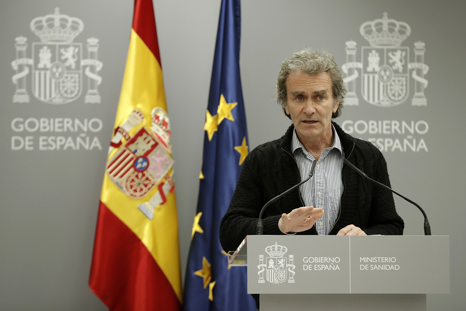 Dr. Fernando Simón, director of the Center for Health Emergencies in Spain, holds a press conference on the latest developments of the Covid-19 pandemic in Madrid, on March 11.