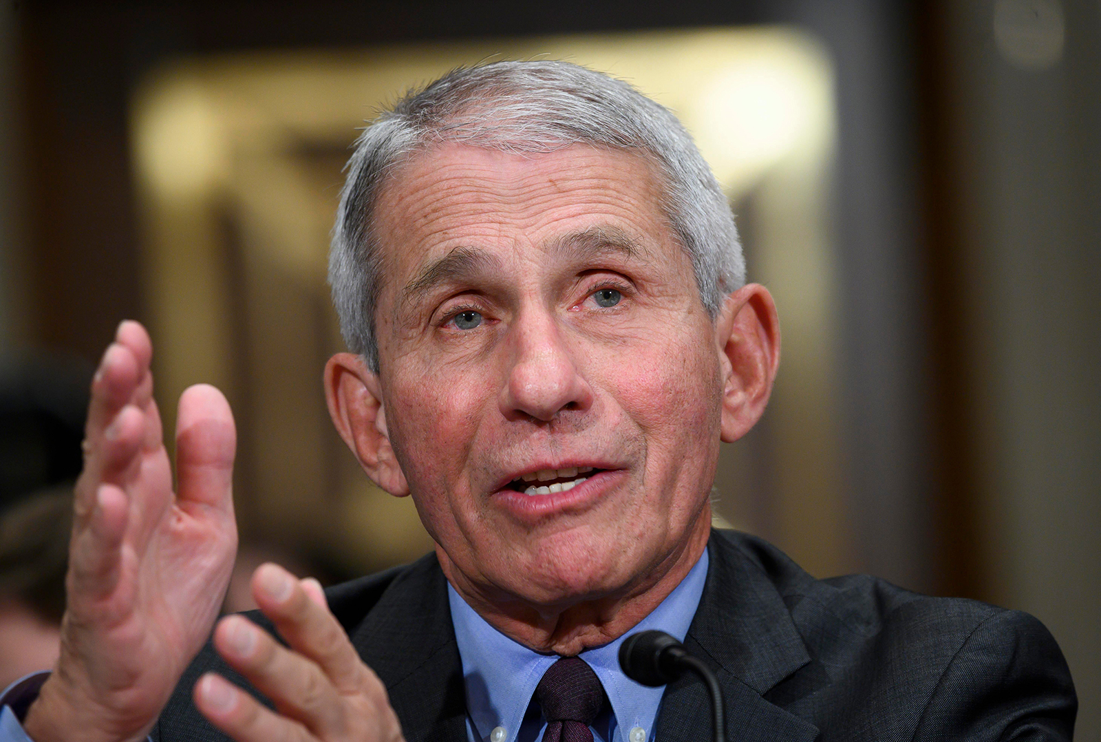 Dr. Anthony Fauci, director of the National Institute of Allergy and Infectious Diseases, t​estifies before the US Senate Committee in Washington, on March 3.
