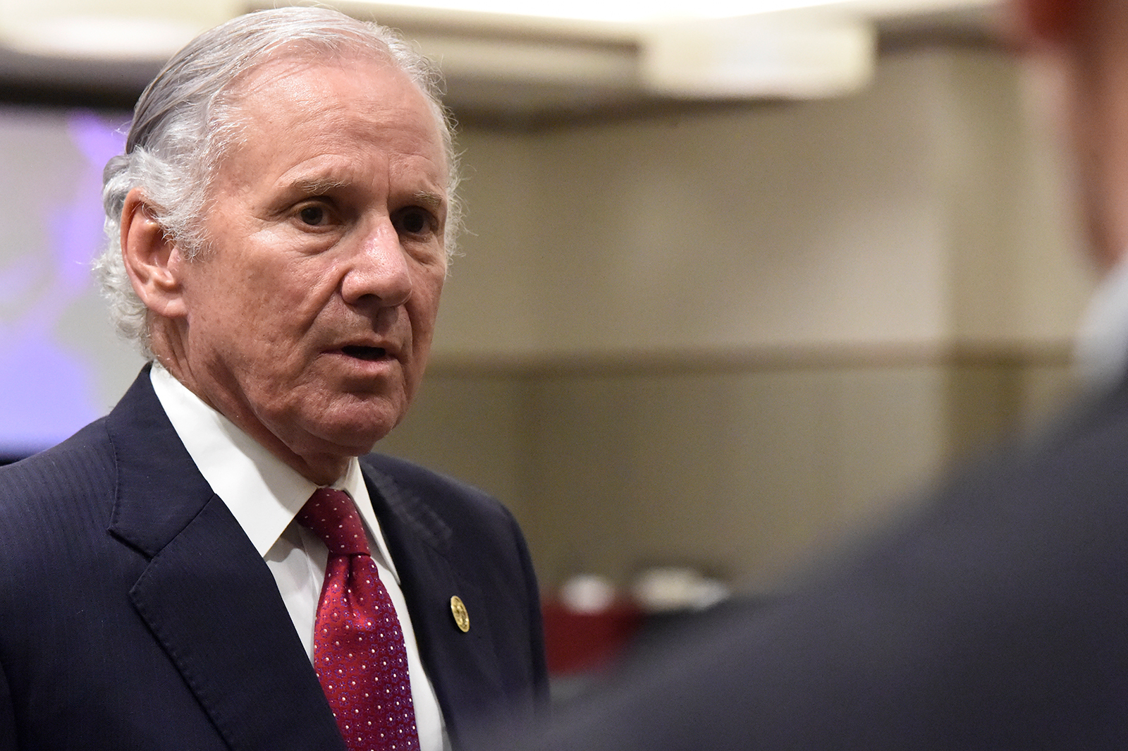 Gov. Henry McMaster speaks with reporters after the first meeting of accelerateSC, his advisory group about reopening the state economy, in Columbia, South Carolina on April 23.