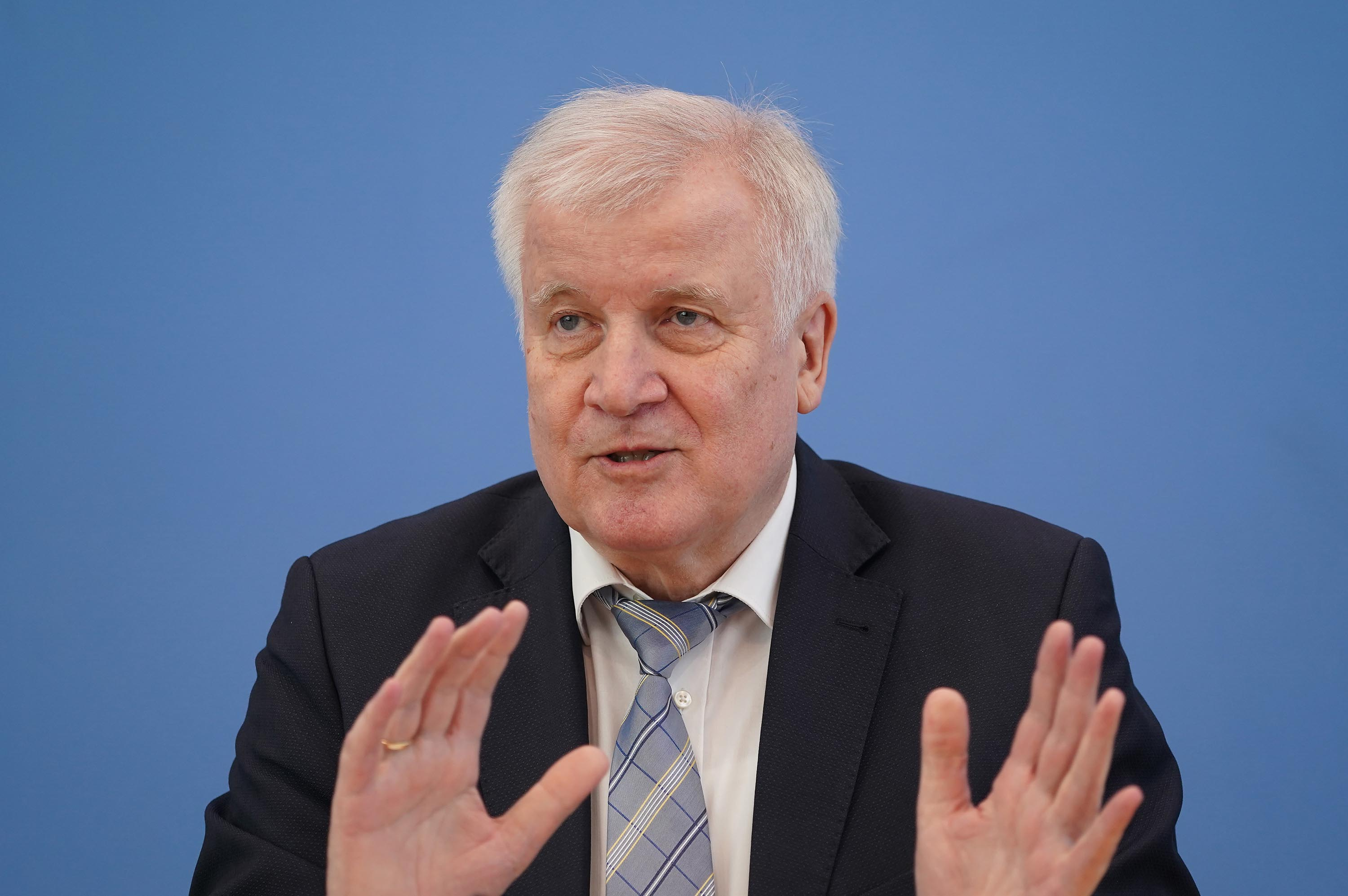 German Interior Minister Horst Seehofer speaks to the media on May 13 in Berlin, Germany.