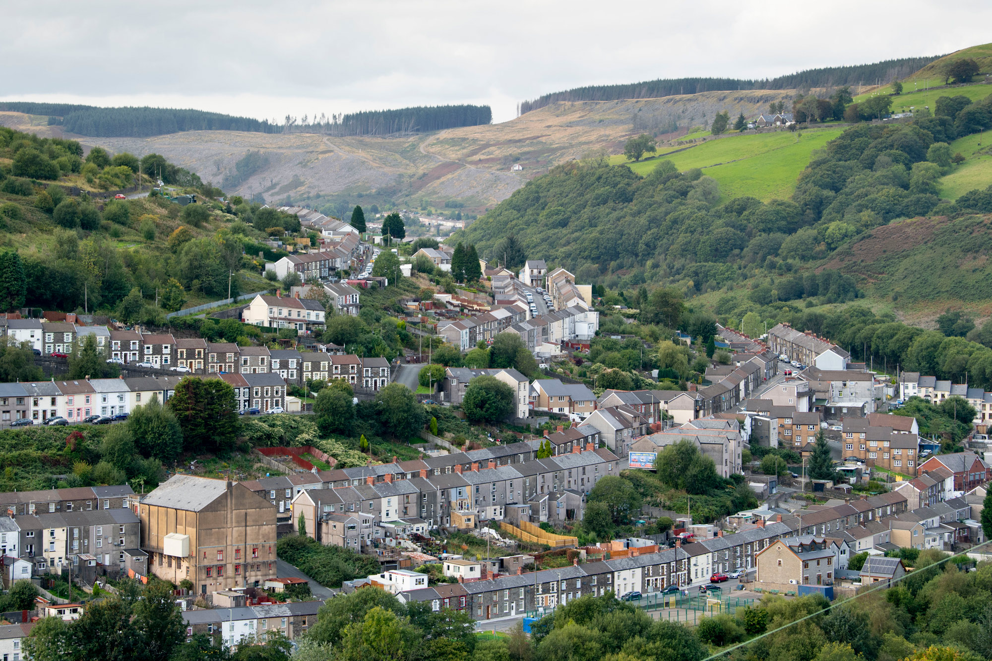 A general view of a residential area of the Rhondda Fach valley is seen on September 10 in Stanleytown, Wales.