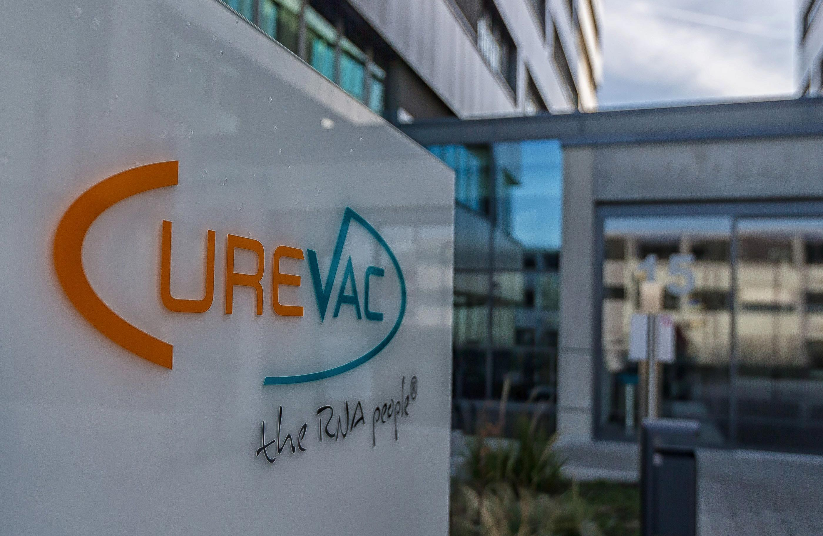 The Logo of Curevac is seen on a sign in front of the CUREVAC building on November 21 in Tuebingen, Germany.