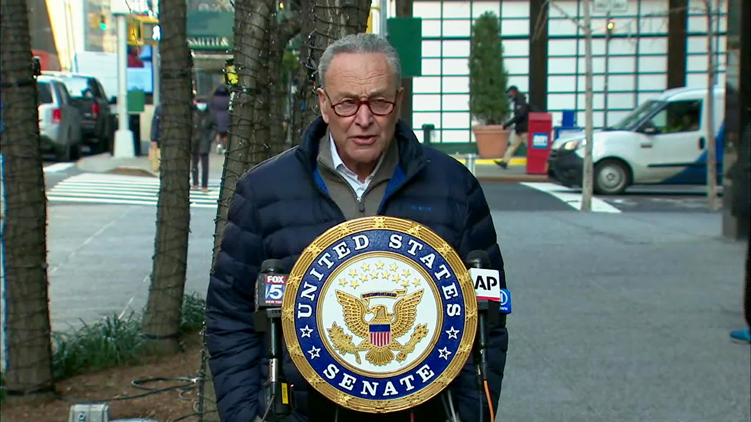 Sen. Chuck Schumer speaks during a press conference on Tuesday, January 12.
