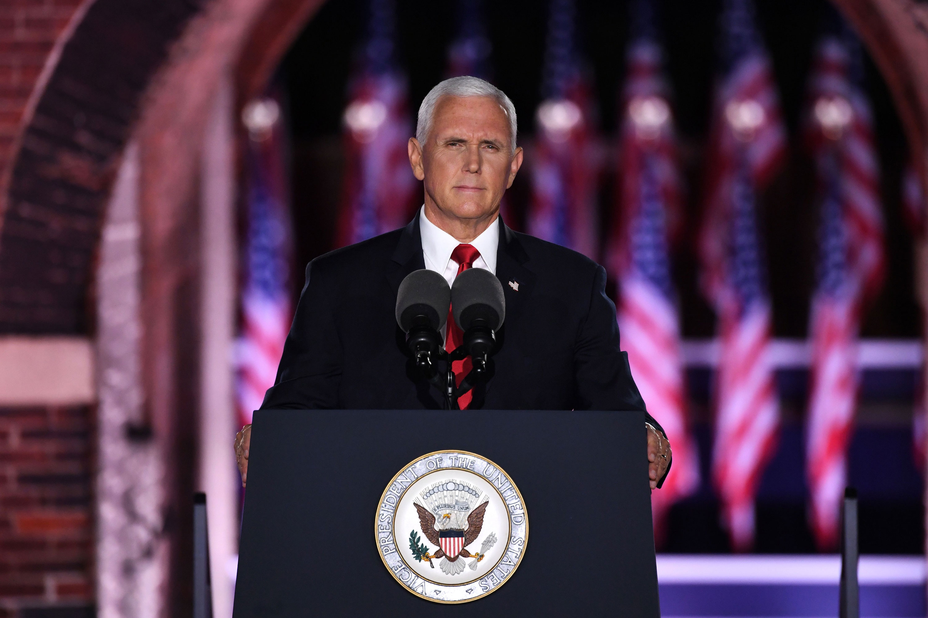 Vice President Mike Pence speaks during the Republican National Convention in Baltimore on August 26.