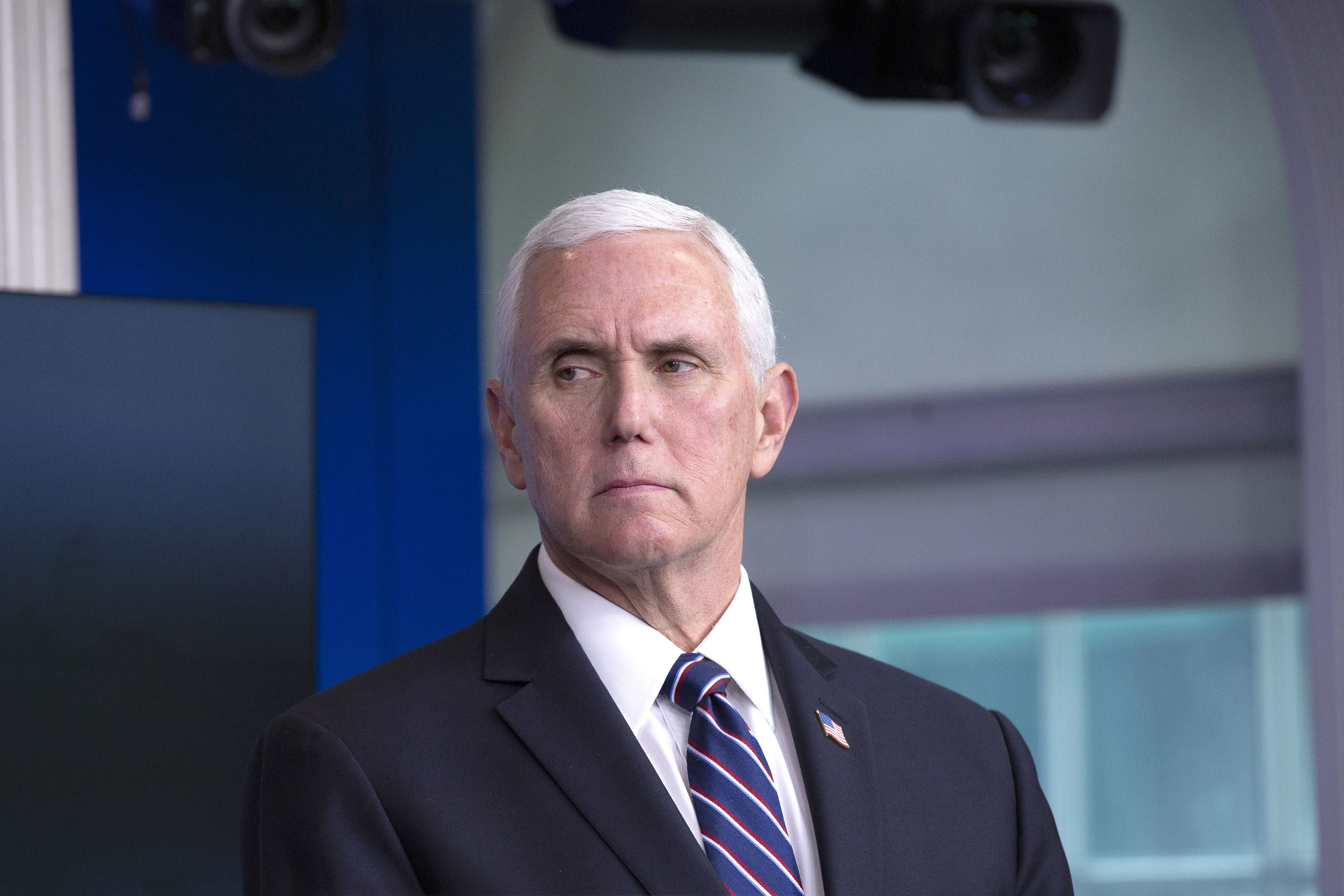 US Vice President Mike Pence listens during a coronavirus news conference at the White House on April 19.