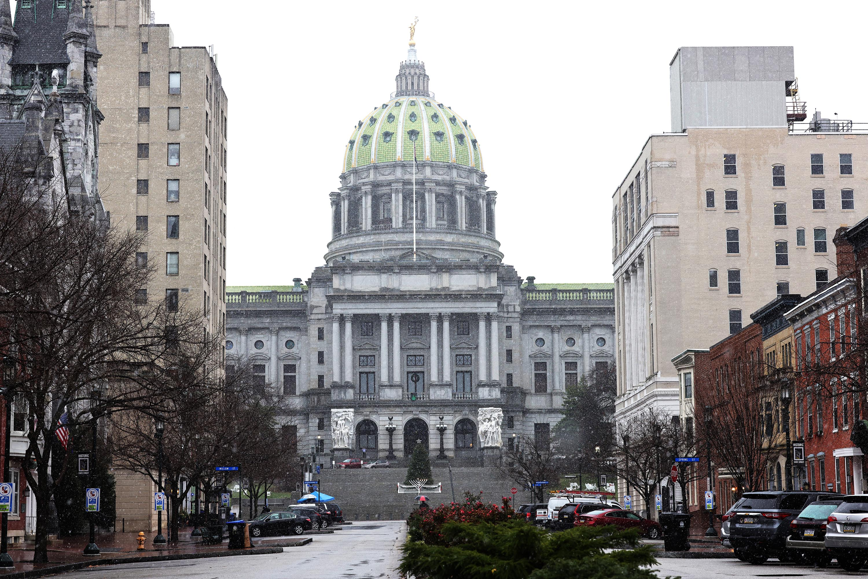 The Pennsylvania State Capitol is seen on December 14, 2020 in Harrisburg, Pennsylvania.