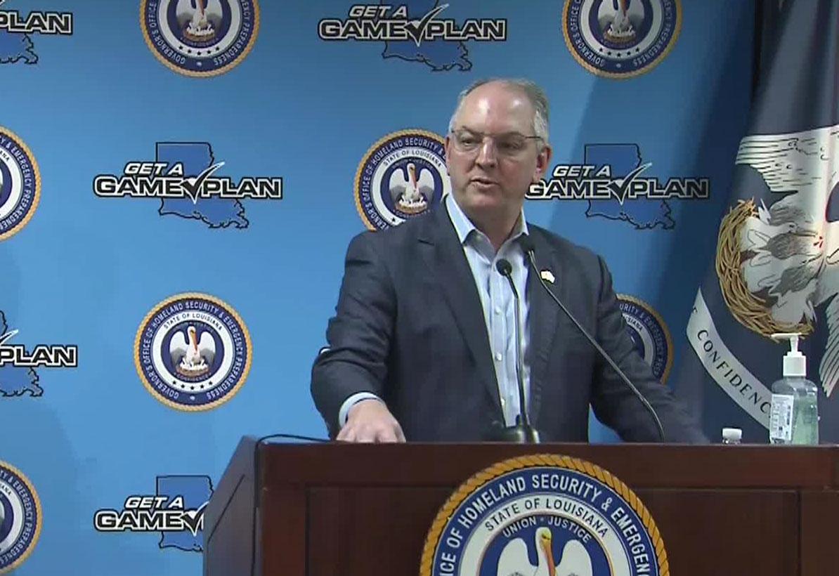 Gov. John Bel Edwards speaks at a news conference on April 9.