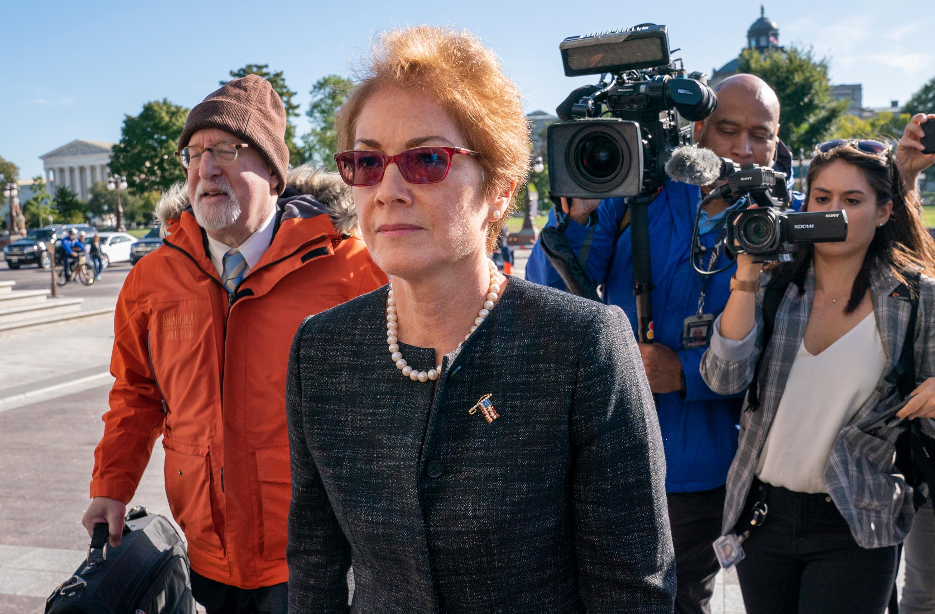 Former US Ambassador to Ukraine, Marie Yovanovitch, arrives on Capitol Hill, on Oct. 11.