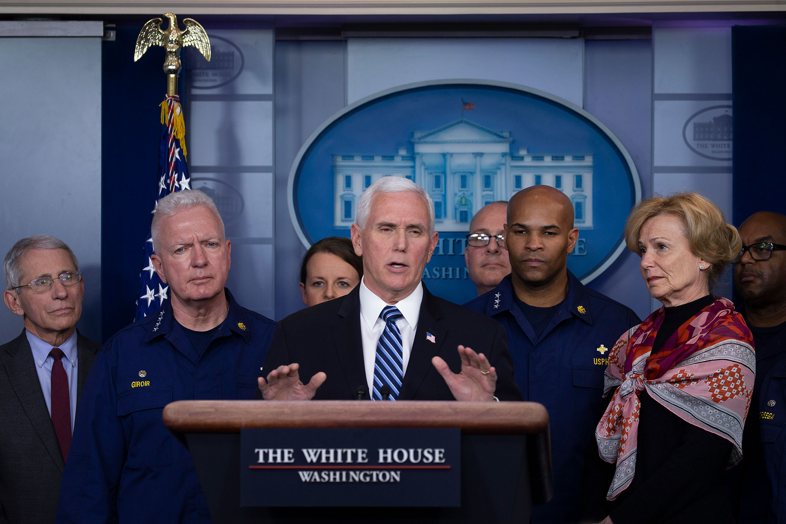 Vice President Mike Pence speaks to the media during a press briefing at the White House on March 15.