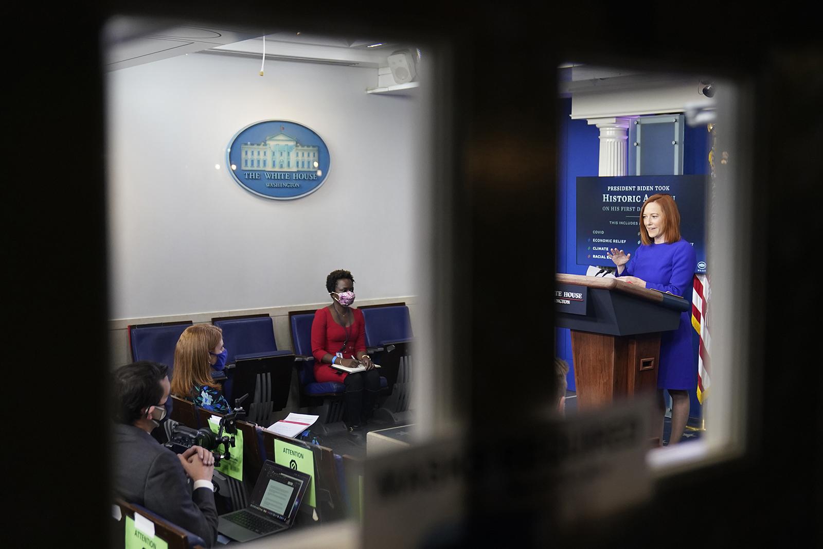 White House press secretary Jen Psaki speaks with reporters in the James Brady Press Briefing Room at the White House on January 20, i, Jan. 20, 2021, in Washington. (AP Photo/Alex Brandon)