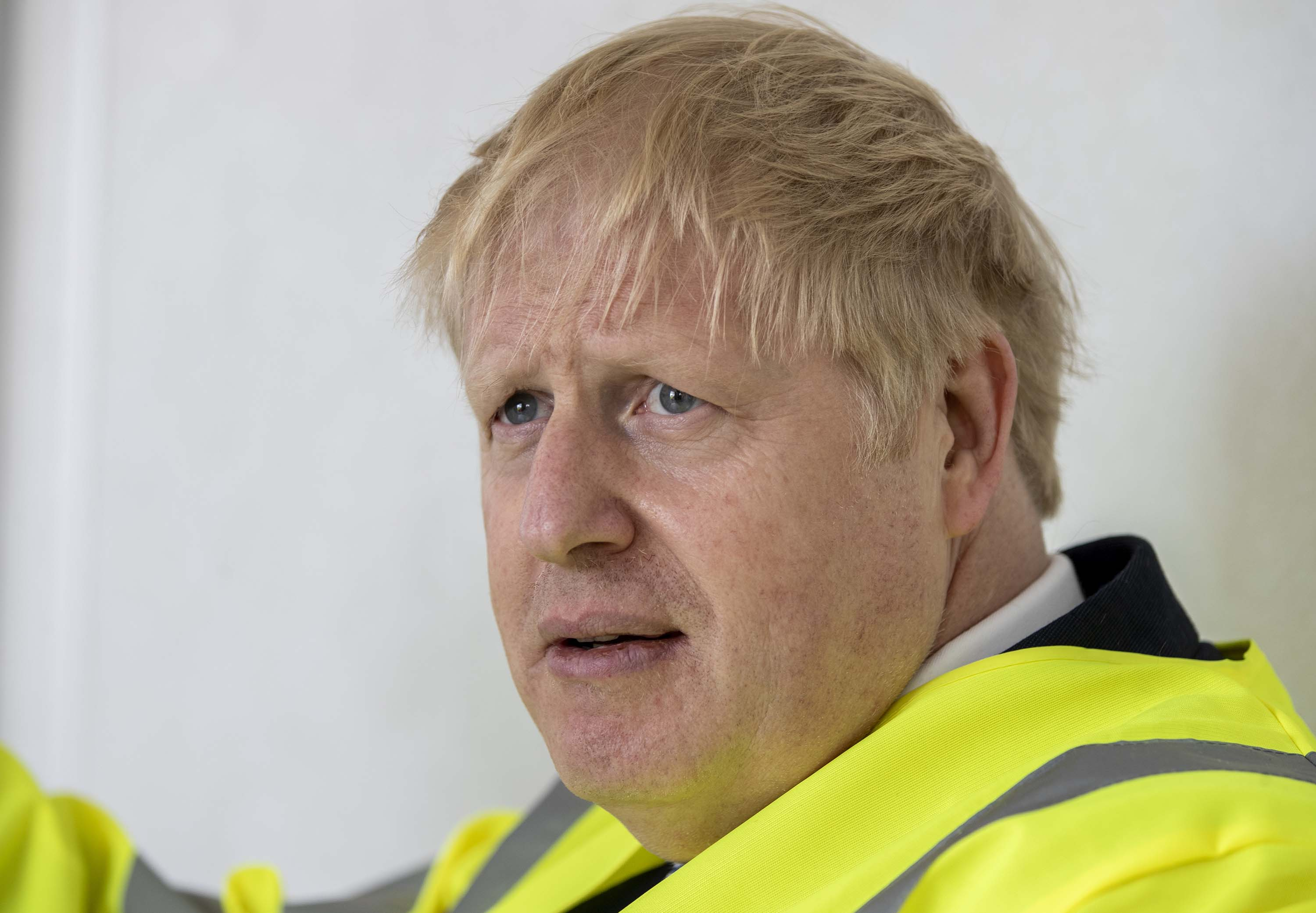 British Prime Minister Boris Johnson is pictured at the Siemens Rail factory construction site in Goole, England, on Monday, July 6.
