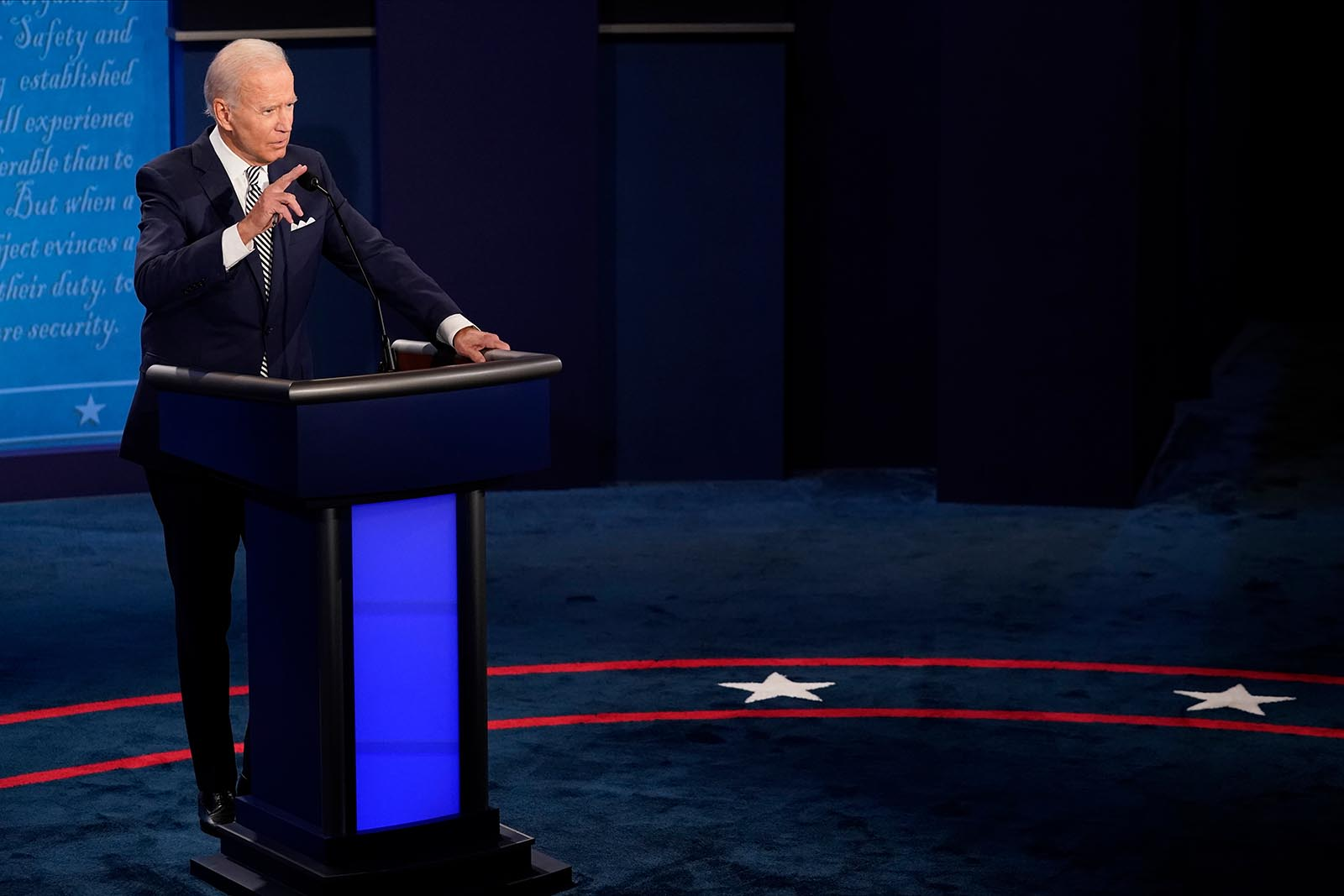 Democratic presidential nominee Joe Biden participates in the first presidential debate against U.S. President Donald Trump.