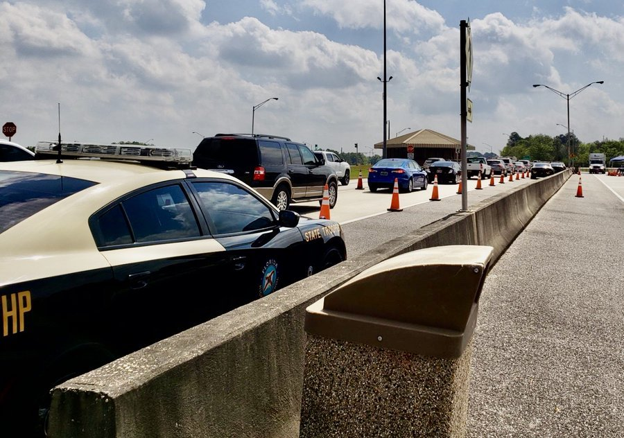 Vehicle checkpoint on eastbound I-10 near the Florida-Alabama state line.