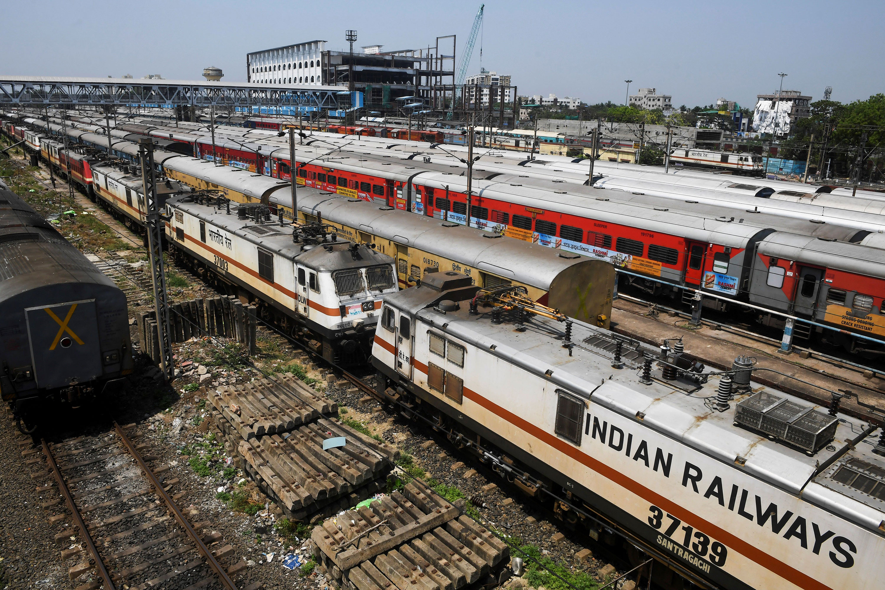 Empty trains sit parked at a station in Kolkata, India, on March 28 during the nationwide lockdown.