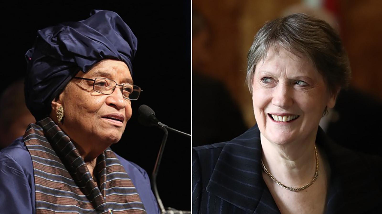 Former Liberian President Ellen Johnson Sirleaf and former New Zealand Prime Minister Helen Clark.