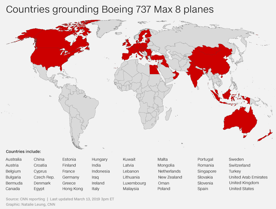 Here\'s where Boeing 737 Max 8 planes have been grounded