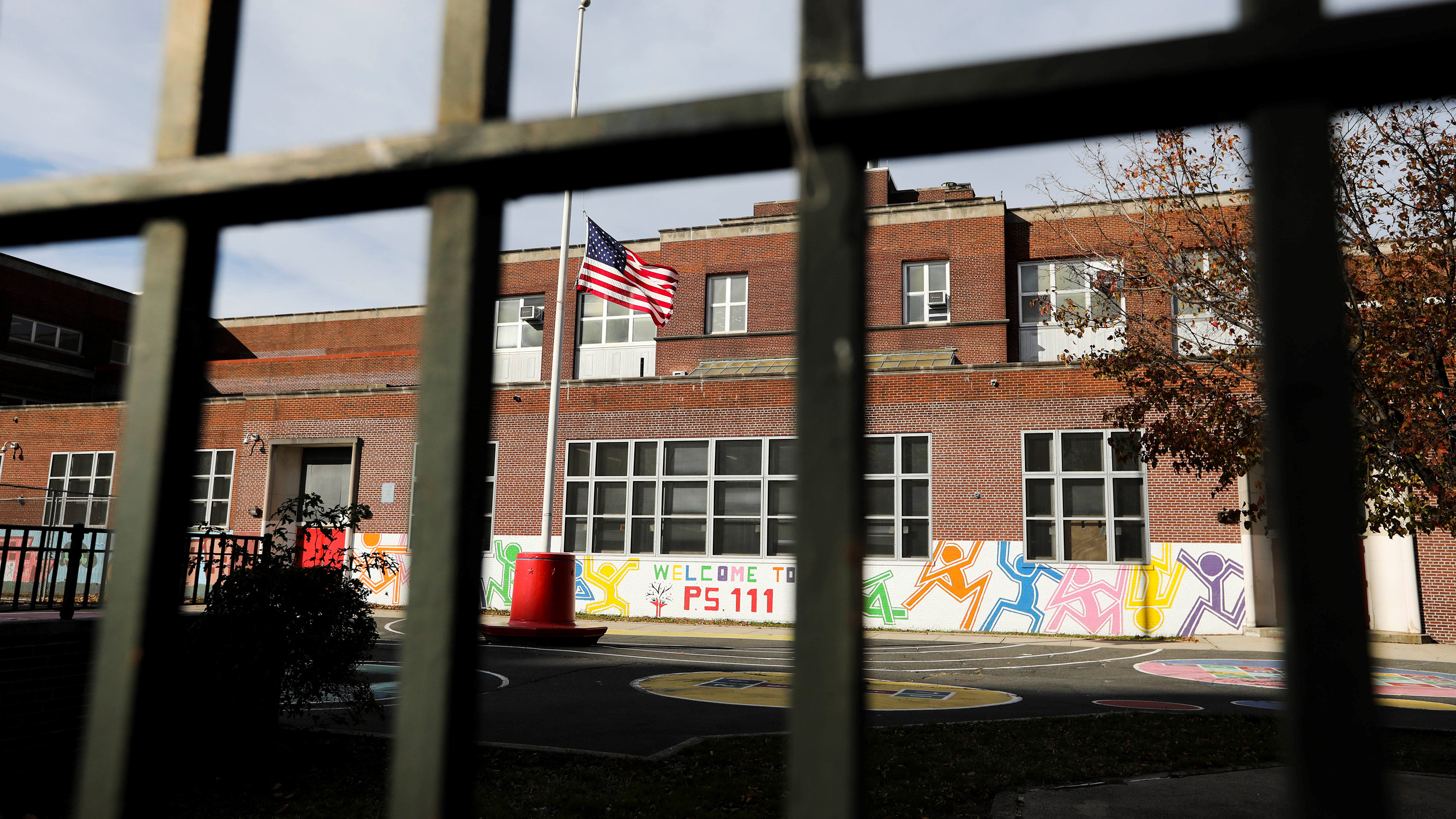 A closed public school is seen in New York, on November 19, 2020.