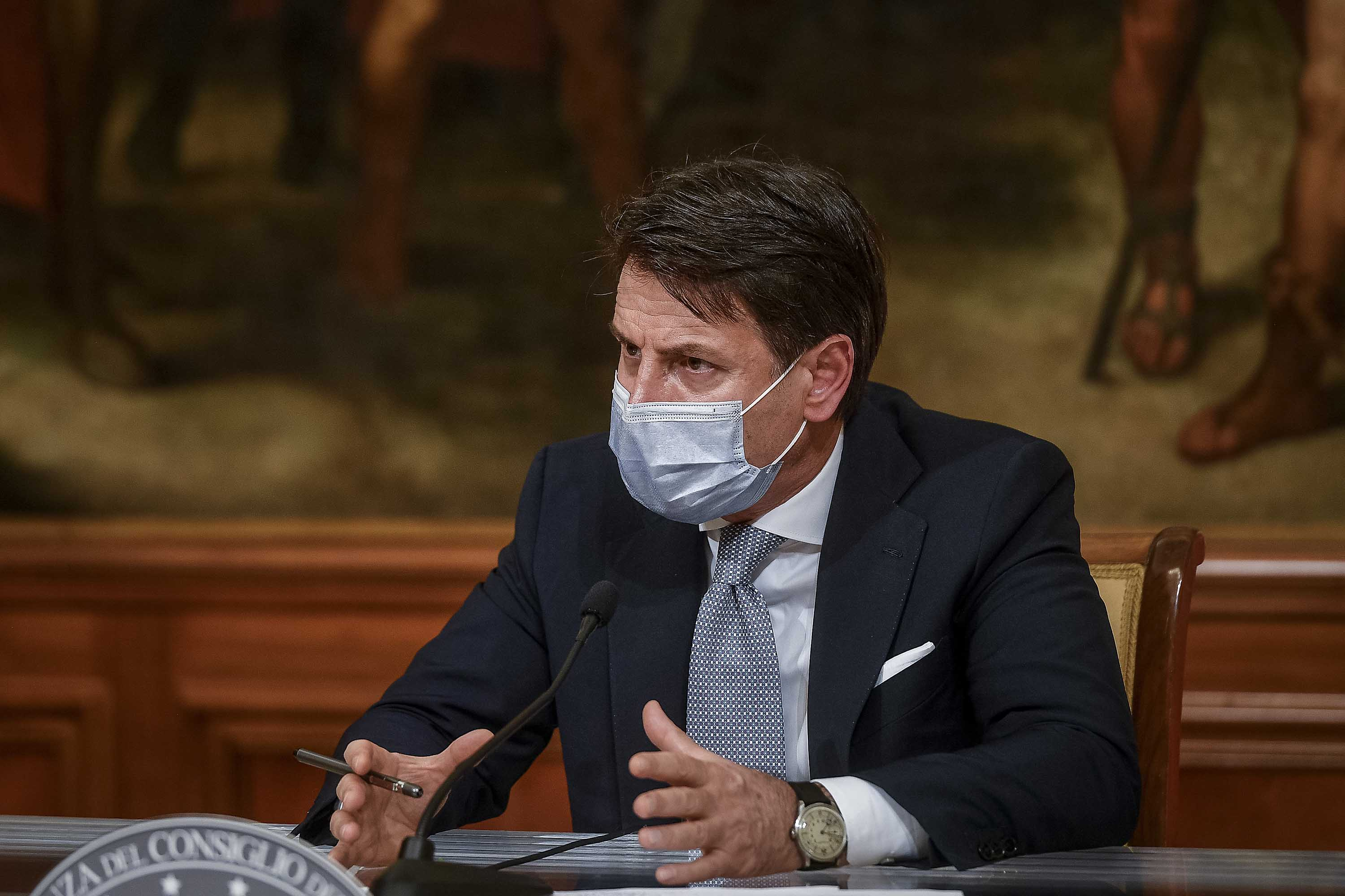 Italian Prime Minister Giuseppe Conte speaks at a press conference on November 4, in Rome, Italy.