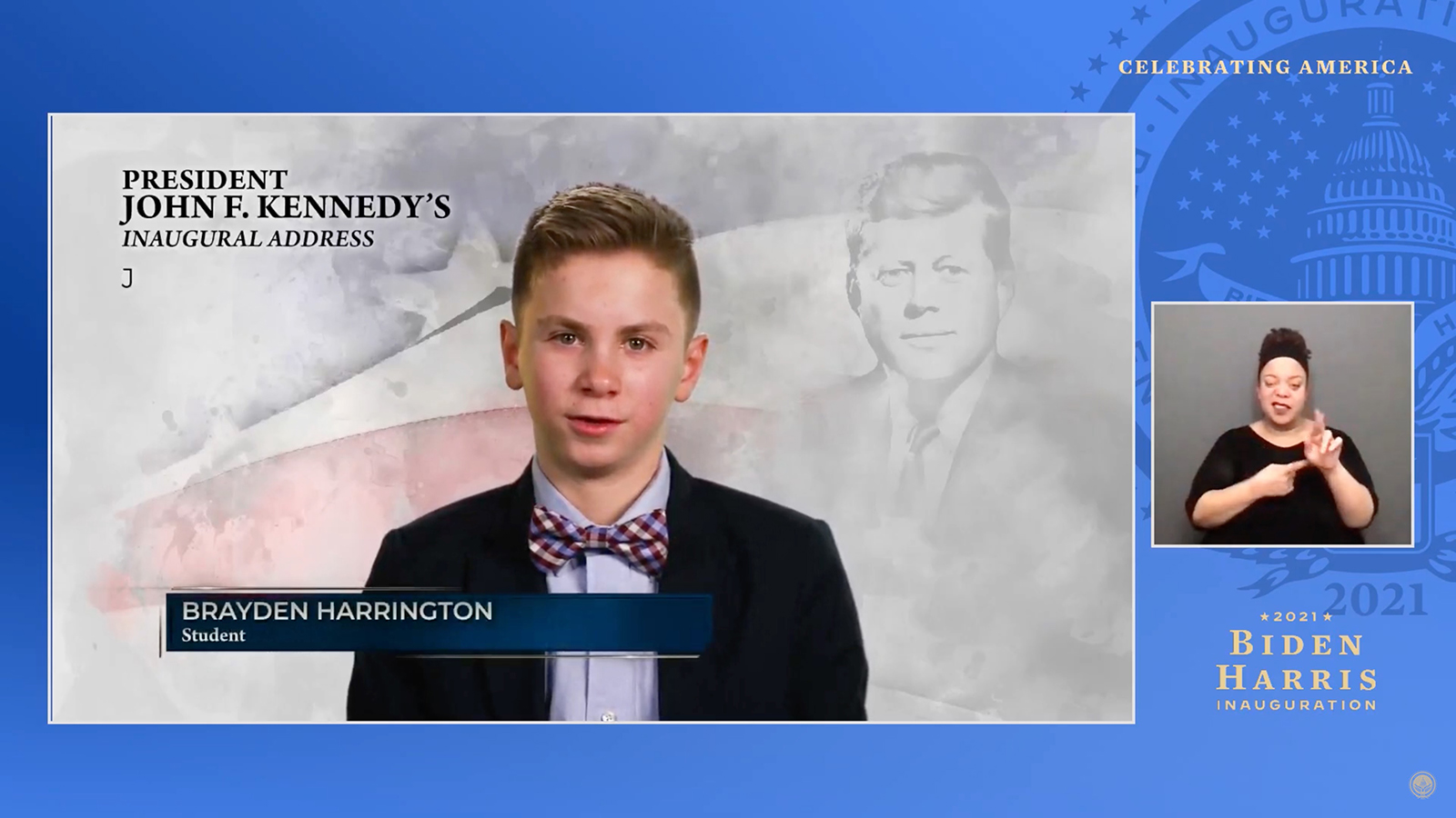 In this screengrab, Brayden Harrington speaks during the Celebrating America Primetime Special on January 20.