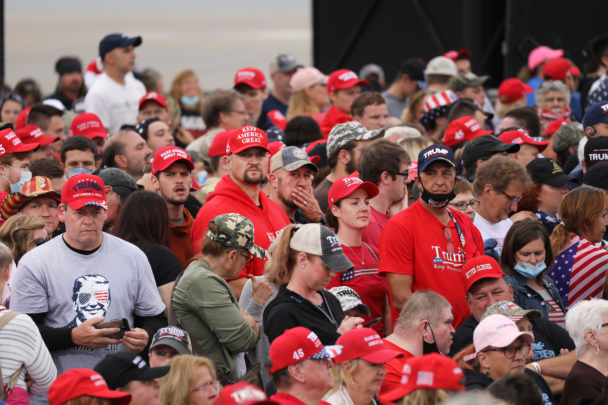 People gather at Harrisburg International Airport ahead of President Trump's rally in Middletown, Pennsylvania, on Saturday.