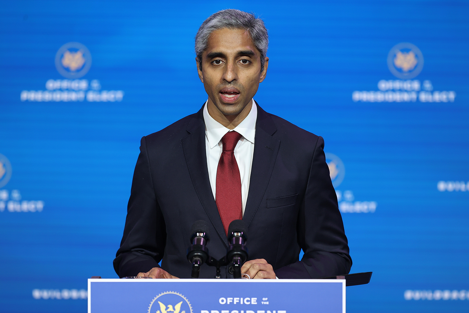 Dr. Vivek Murthy speaks during a news conference at the Queen Theater in Wilmington, Delaware, on December 08.