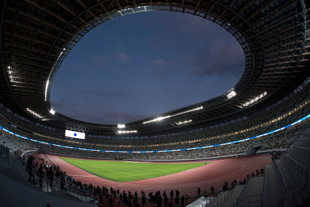 Tokyo's New National Stadium, the main venue for the upcoming Tokyo 2020 Olympic and Paralympic Games, on December 15, 2019.